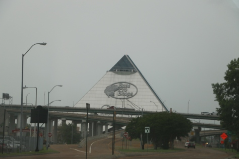 Rainy day on the way to Bass Pro Shop at the Pyramid