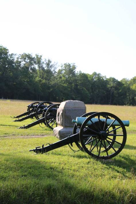 Cannons on display at Chickamauga Battlefield