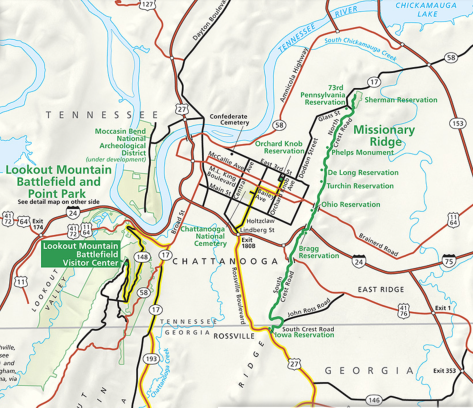 Map of Chickamauga and Chattanooga National Military Park