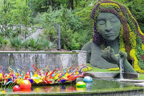 The Earth Goddess at the Atlanta Botanical Gardens with Chihuly Glass Sculptures