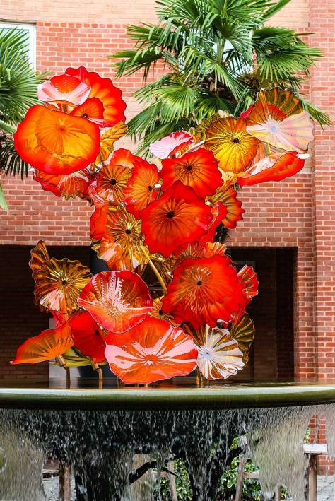 Orange Glass Chihuly Fountain Sculpture by Gift Shop
