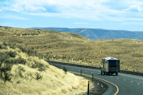 RV going down the road in eastern Washington State
